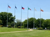 The Six Flags that fly over Texas at the Texas Welcome Center.